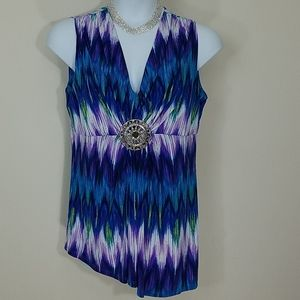 Tank top stretch tunic abstract print medallion